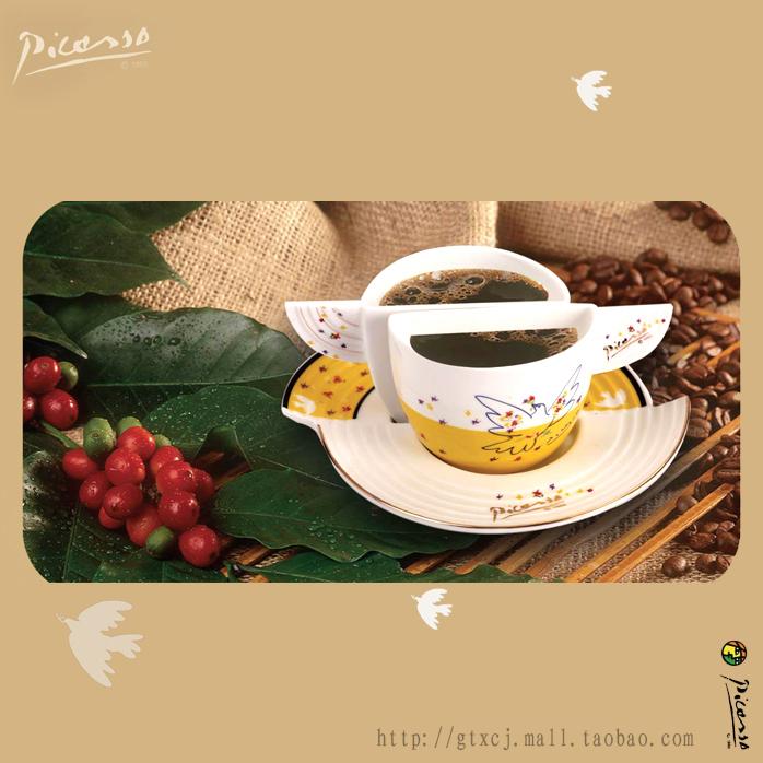 毕加索新骨瓷和平鸽翼形咖啡对杯组高清图片