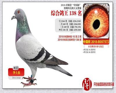 2018年北京开创者铁英四关鸽王赛
